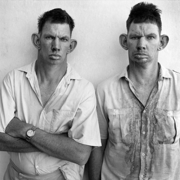 "American photographer Roger Ballen searches for his images on the fringes of society. Most recently, his jarring music video for South African group Die Antwoord helped propel the artists to global fame. He spoke with German magazine Spiegel about his work. This image, taken of twins Dresie and Casie in 1993, was included in his book ""Platteland."" 