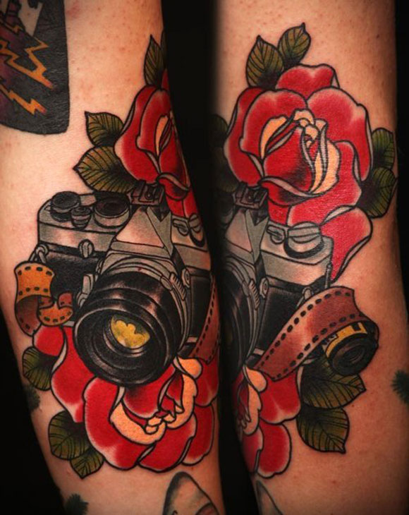 camera tattoos theme. Black Bedroom Furniture Sets. Home Design Ideas