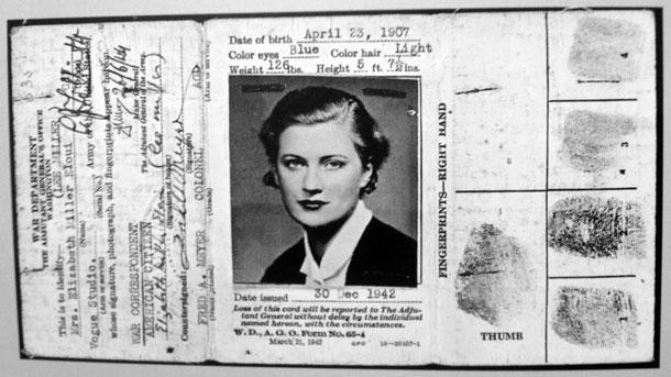 Lee Miller's war correspondence I.D. card.
