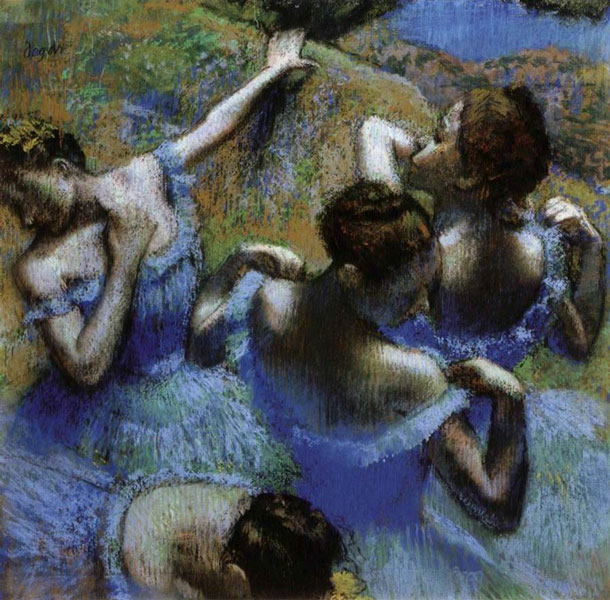 "Edgar Degas' ""Danseuses Bleues"" painted in the second half of the 19th century..."