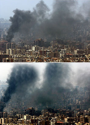 Truly impermissible, cheaply manipulated Reuters images showing a Beirut air raid in 2006; taken and altered by Lebanese photographer Adnan Hajj.