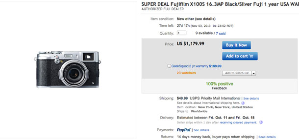 $120 off the long-awaited Fujifilm X100S from top rated dealer with 100% perfect feedback.
