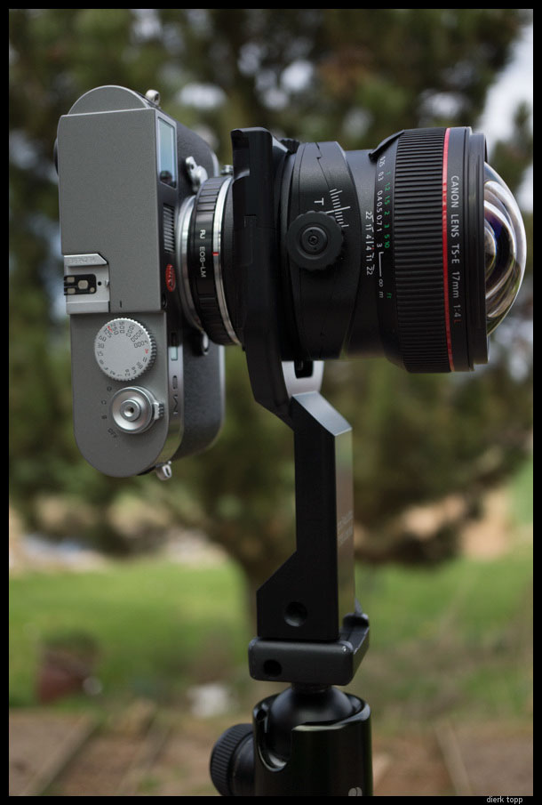 With the Canon TSE Tripod Collar from Hartblei. This collar keeps the lens in constant position and there are no parallax problems for stitching images. | Dierk Topp