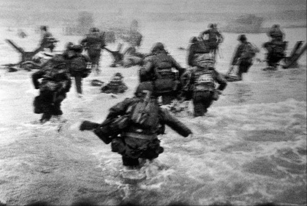 Some of Capa's most famous war time pictures include his Magnificent Eleven, a series of black-and-white photos showing the American forces landing at Omaha Beach on D-Day. Capa was in one of the landing crafts together with one of the invading platoons. He shot 106 frames of films that day, and was in London the next day to have his film developed. The story goes that the darkroom technician assigned to process the film was so excited to see the resulting pictures that he applied too much heat to the film drying process, accidentally melting almost all of the frames. Only 11 images survived, and these precious 11 were among the first pictures of D-Day to be published and seen by the American public.