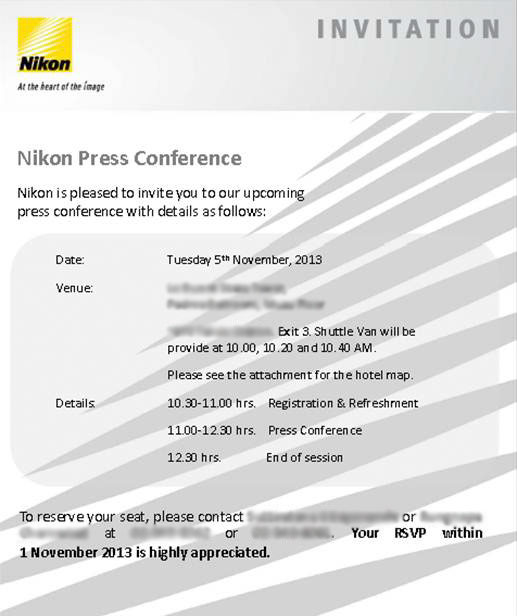 Invitation for Nikon Df announcement press conference in Bangkok, Thailand.