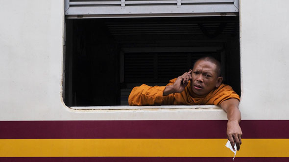 Monk on Train | Ronn Aldaman