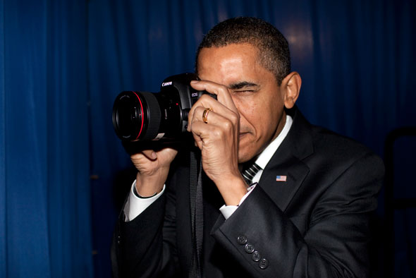 President Barack Obama with probably White House photographer Pete Souza's Canon 5D Mark II...