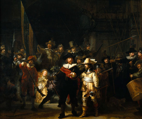 Like so many of us living in Southern Ohio, my 6-year-old niece would have had trouble maintaining good color balance in the shadow areas. |  Rembrandt / The Night Watch