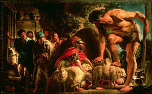 One of the most famous scenes in The Odyssey is Odysseus's triumph over the cyclops Polyphemus. After the cyclops eats several of Odysseus's men, the hero tricks Polyphemus into drinking wine and falling asleep. Odysseus then blinded the cyclops while he slept and snuck his men and himself out of the cave by clinging to the underside of Polyphemus's sheep as they were let out to graze. The lesson for photographers? There is beauty in crowds and danger for lone wolves. | Painting: Odysseus by Jacob Jordaens