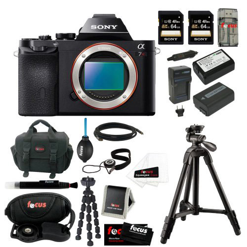 Sony A7R 36.3MP Body + 2 Sony 64GB SDHC Memory Card + Wasabi Replacement NP-FW50 Two Batteries with Charger + Accessory Kit for $2,298