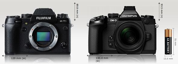 Fujifilm X-T1 vs. Olympus OM-D E-M1 | cameasize.com