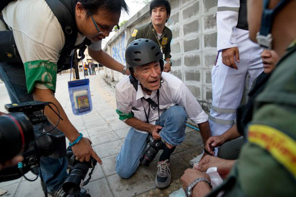 James Nachtwey, shortly after being wounded during protests in Thailand on Saturday, February 1, 2013. | Jonas Gratzer / TIME