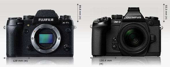 Fujifilm X-T1 vs. Olympus OM-D E-M1 | camerasize.com