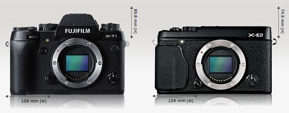 Fujifilm X-T1 vs. Fujifilm X-E2 | camerasize.com