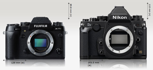 Fujifilm X-T1 vs. Nikon Df | camerasize.com