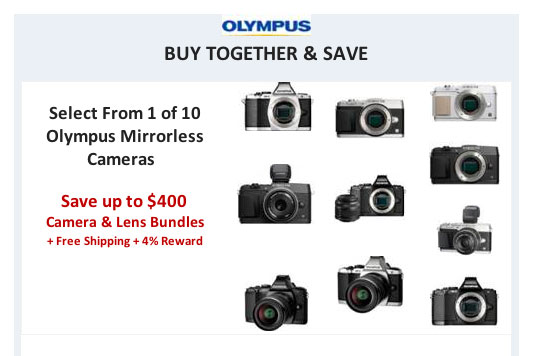 Click image for deals -- save up to $400 on Olympus mirrorless cameras and lens bundles.