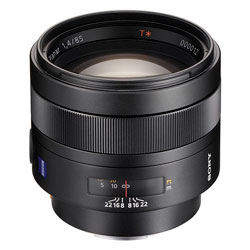 The Carl Zeiss 85mm F1.4 Planar T* for Sony Alphy, pricey portraiture optics but worth every cent.