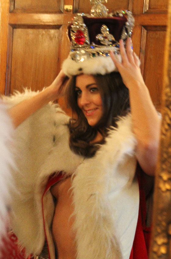 Kate Middleton tries on a crown for size. | Alison Jackson