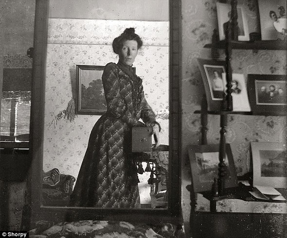 A 1900 selfie from a Kodak Brownie.