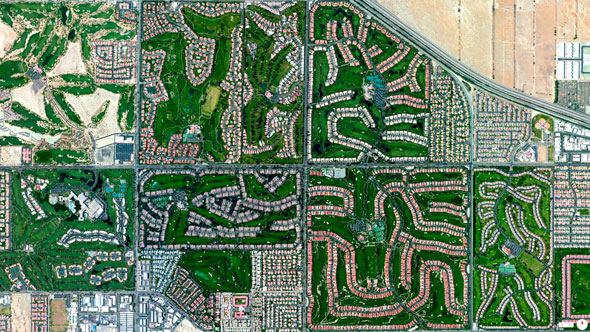 Thinking about hitting the links this weekend? If you find yourself in Palm Desert, California, there certainly isn't a shortage of clubs to choose from. The courses seen here, going clockwise from the upper left, are as follows: Desert Willow Golf Resort, Desert Falls Country Club, Palm Valley Country Club, Palm Desert Resort Country Club, Indian Ridge Country Club and Marriott's Desert Springs Resort. | Daily Overview