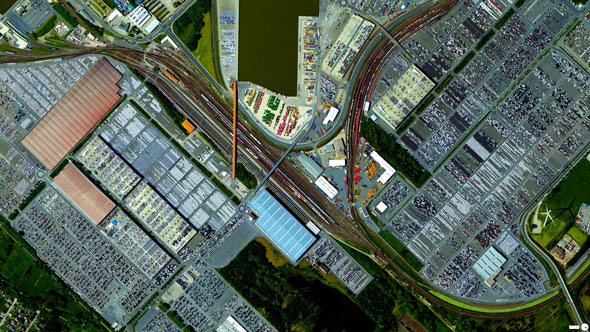 Bremerhaven is the largest car terminal in Europe. At any given moment, the German port contains between 60,000 and 80,000 vehicles. | Daily Overview
