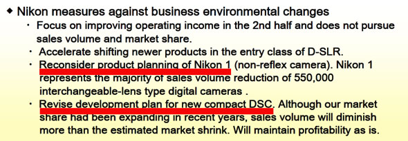 Excerpt from Nikon financial report Q1/2013