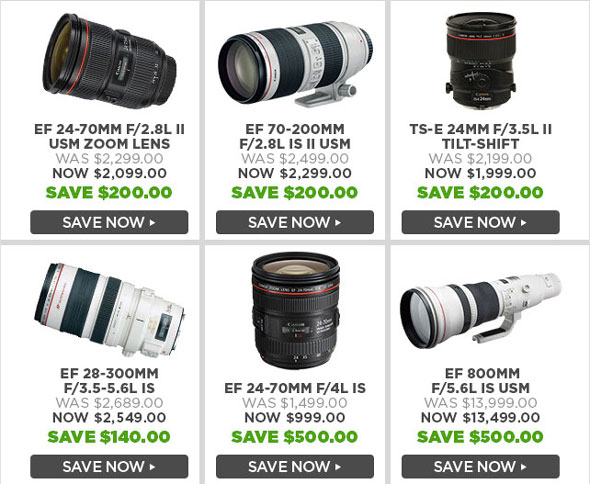 Click image to see all Canon lenses price drops.