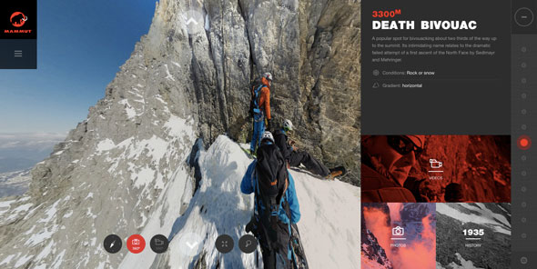 Watch with care, this virtual climb of dangerous Eiger North Face might lead to dizziness and acrophobia.