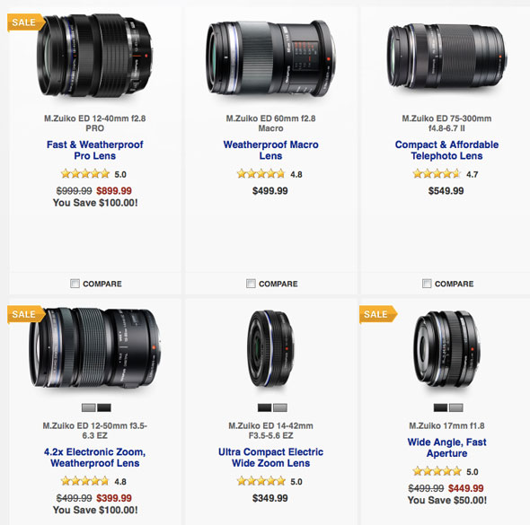 Save big on Olympus optics.