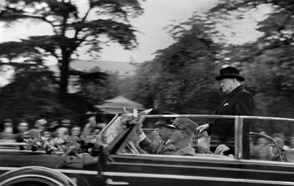 "Zurich, November 20, 1946: British Prime Minister Winston Churchill on his visit to University where he delivered his historic speech ""Europe arise!"" 