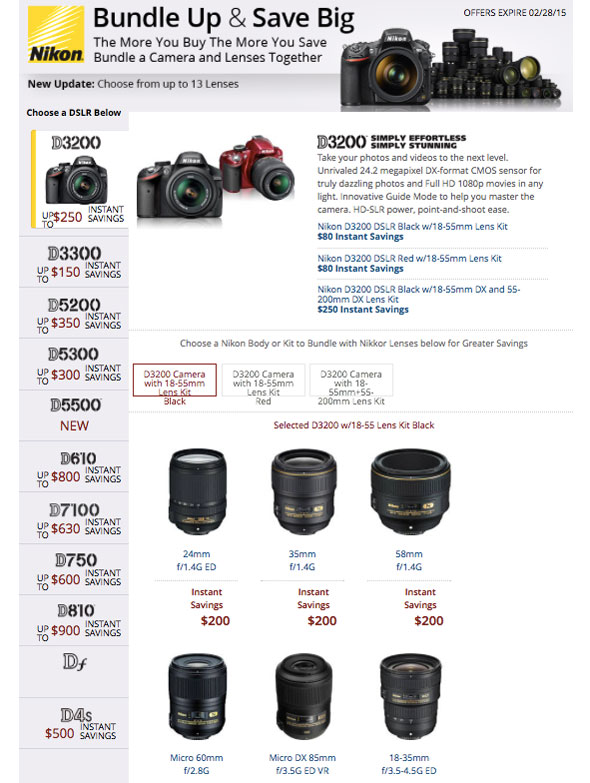 B&H Photo Nikon Instant Savings...