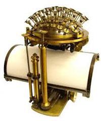 Friedrich Nietzsche's typewriter, a Malling-Hansen Writing Ball, model 1878. | The Goethe and Schiller Archive, Weimar, Germany