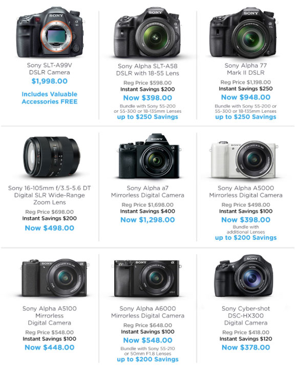 Some great Sony specials saving you hundreds...