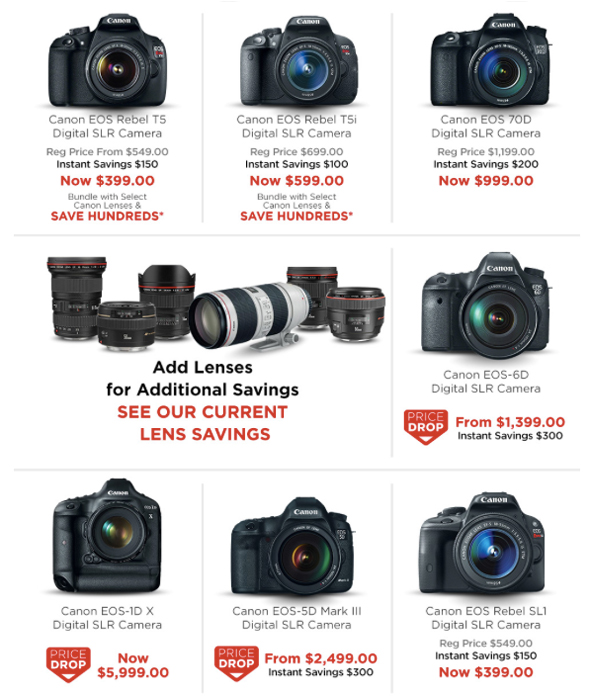 Canon instant savings and rebates