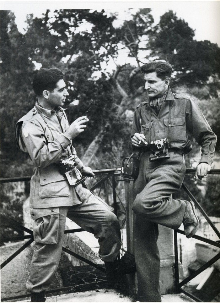 Robert Capa (left) and George Rodger sporting a parachute silk ascot.