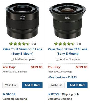 Instant rebates on Zeiss Touit glass for Sony E mount. Limited time only!