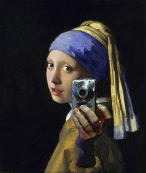 """Girl With a Pearl Camera,"" borrowed from Vermeer's ""Girl With a Pearl Earring"""