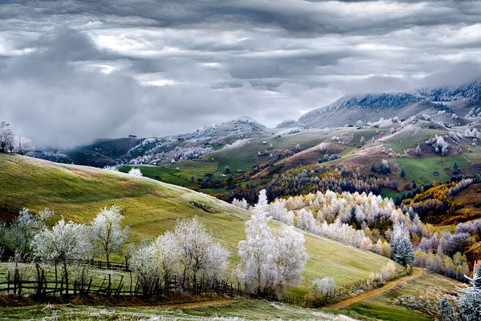 White frost over Pestera village in Romania. | Eduard Gutescu / National Geographic Traveler Photo Contest 2015