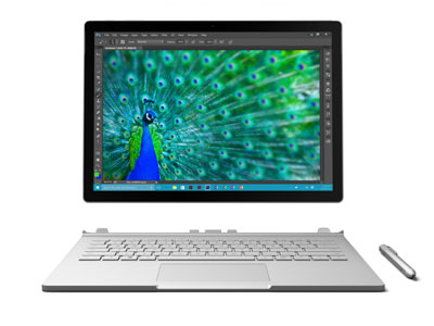 Microsoft's 2-in-1 hybrid Surface Book offers fully-fledged Windows 10 OS.